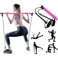 portable yoga pilates bar sport elastic bodybuilding resistance bands exercise pilates stick elastic band for fitness equipment
