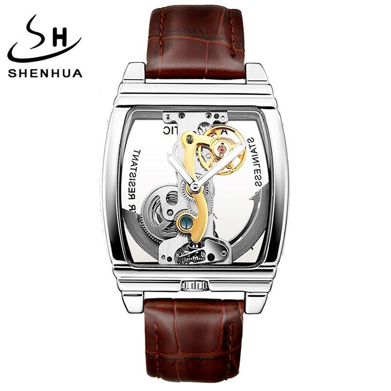 Relojes SHENHUA Turbillon para hombre, reloj de pulsera mecánico automático de lujo, cinturón de cuero genuino, mecanismo a la vista transparente, reloj dorado Masculino