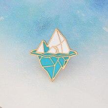 Creative Cartoon antarctique iceberg broche émail bleu blanc neige montagne broche bouton manteau sac à dos broche icône Badge bijoux cadeau