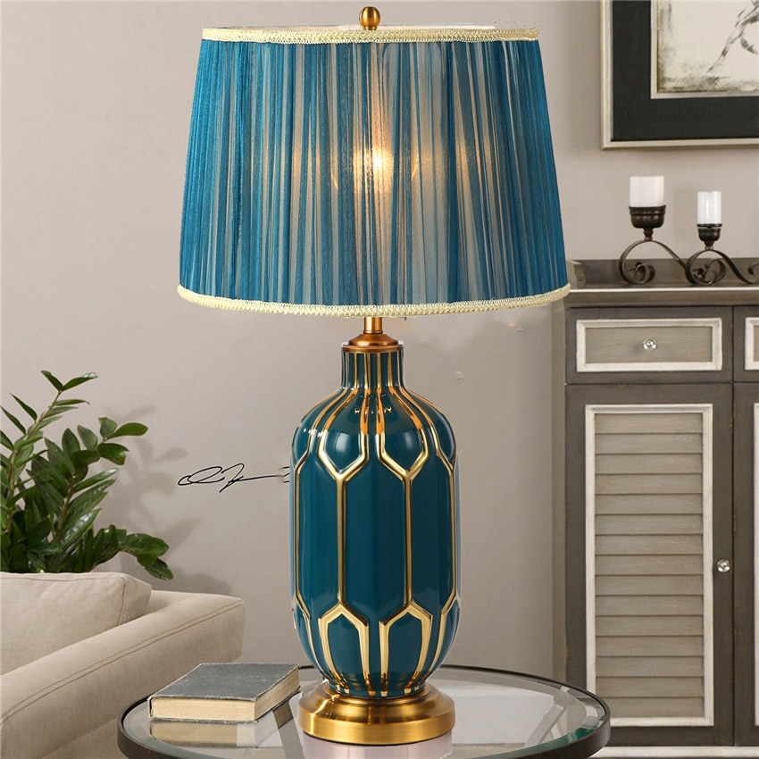 American LED ceramics Table Lamps Dimming Idyllic Blue Hand-painted Ceramic Desk Lamp Home Bedroom lamp Hotel Table Lamp Avize
