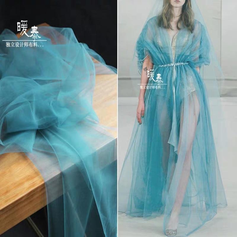 Tela de encaje de malla de tul denso verde azulado DIY Patchwork coser velo de bufanda falda para fiesta de boda decoración para ropa tela de diseñador