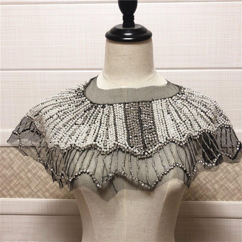 Novo design feminino destacável vintage pérola com contas colar gargantilha
