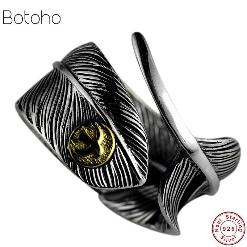 Anillo de Plata de Ley 925 con pluma de color de Puente Alto anillo abierto para hombre anillo de moda retro tailandés color plata joyería sol pluma