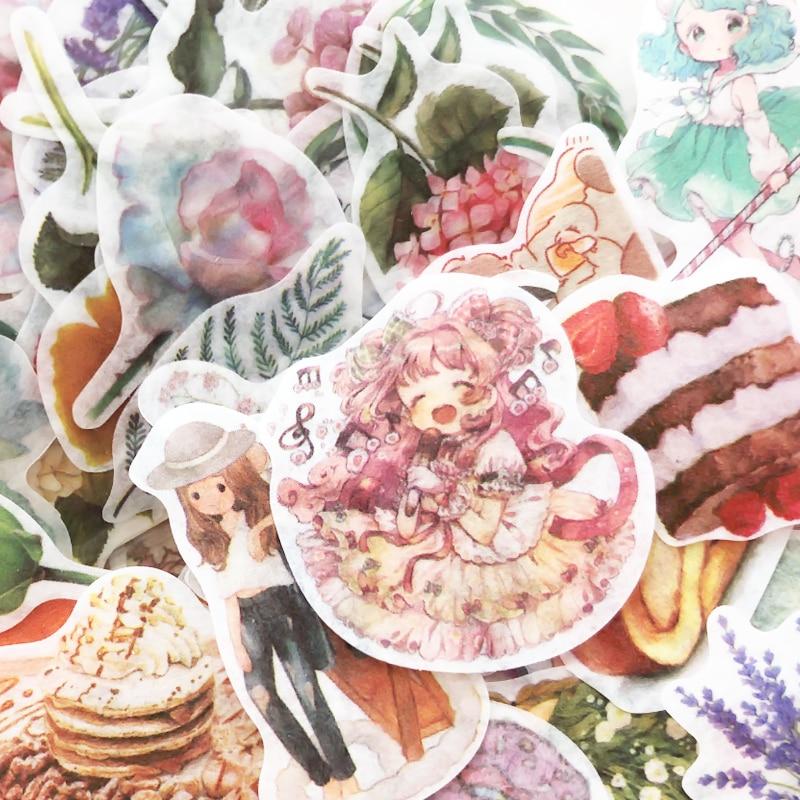 JIANWU 100sheets Cartoon cute girl Sticker bag Plant Flower Modeling Sticker bullet journal stickers School Supplies