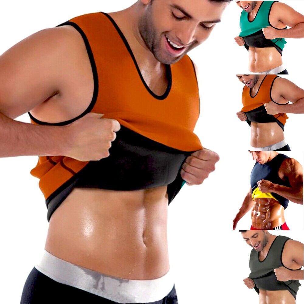 Men's Gym Shapewear Neoprene Vest Sauna Ultra Sweat T-Shirt Body Shaper Slimming Cincher Shapers