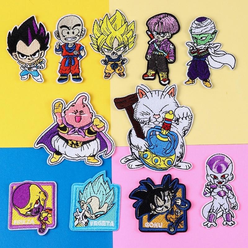 Нашивки Dragon Ball Z с вышивкой, Мультяшные Стикеры для одежды, Мультяшные нашивки для одежды, стикеры для одежды, вышитые наклейки