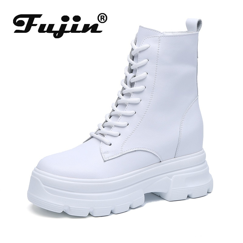 Fujin 8cm High Platform Hidden Heel Wedge Women Ankle Boots Split Leather Waterproof Spring Autumn M