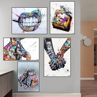 lovers holding hands graffiti art canvas paintings abstract street art poster and prints wall art pictures for home decor quadro