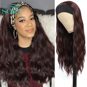 Syntheti Headband Wig 99J Natural Wavy Full Machine Made Hair Glueless Headband Wig For Black Women SOKU Heat Resistant Fiber