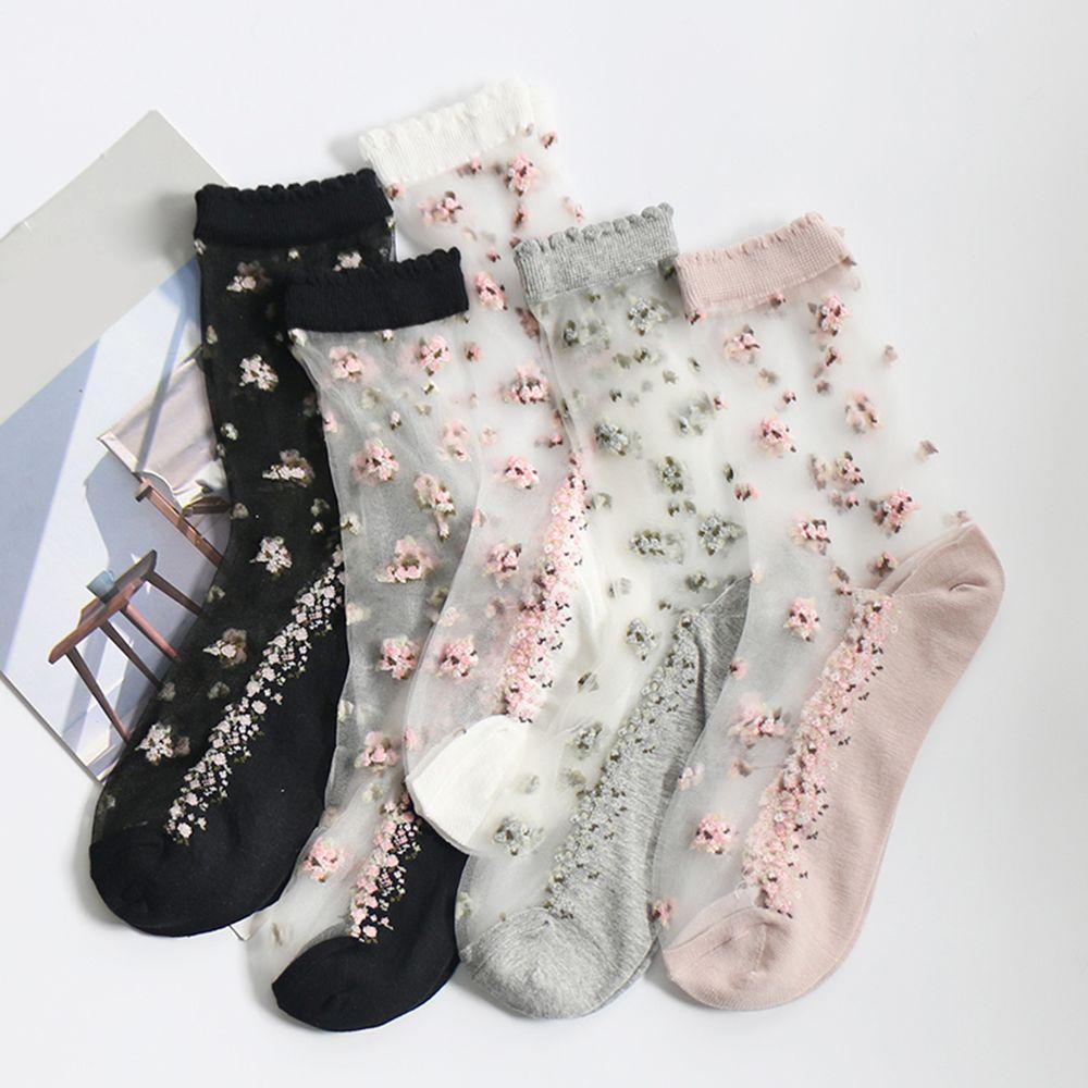 Новые женские носки, крутые шелковые носки с кристаллами, Короткие жаккардовые носки