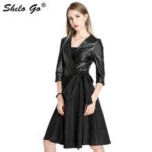 Genuine Leather Dress Black Elegant V Neck Self Wrap Belted Dress Women Autumn Solid Office Lady Fit and Flare A Line Dresses