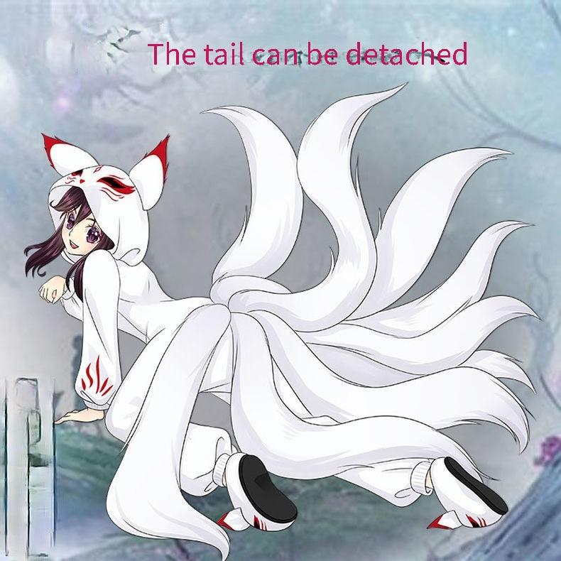 Аниме лиса белая Пижама Косплей Костюм взрослые мужчины женщины комбинезоны мультфильм зимняя фланелевая домашняя пижама