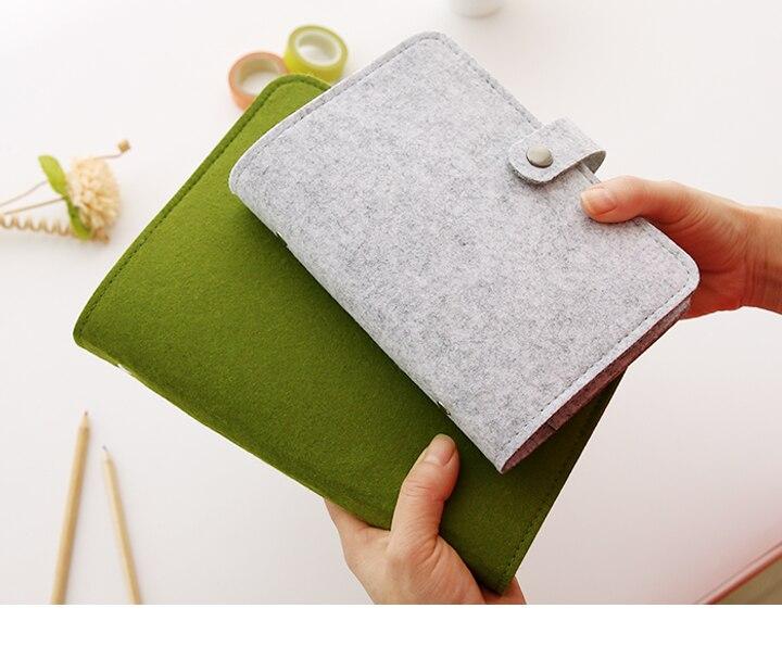 Fieltro de lana A5 A6 Vintage hoja suelta recargable diario Bloc de notas con espiral planificador Filofax diario de viaje Notepads Simple Light Harphia