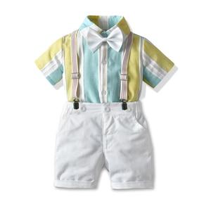 Kids Clothes Boys Suit Stripe Short Sleeve Shirt+ White Shorts Bow Tie Gentleman Sets Summer Outfit Kids