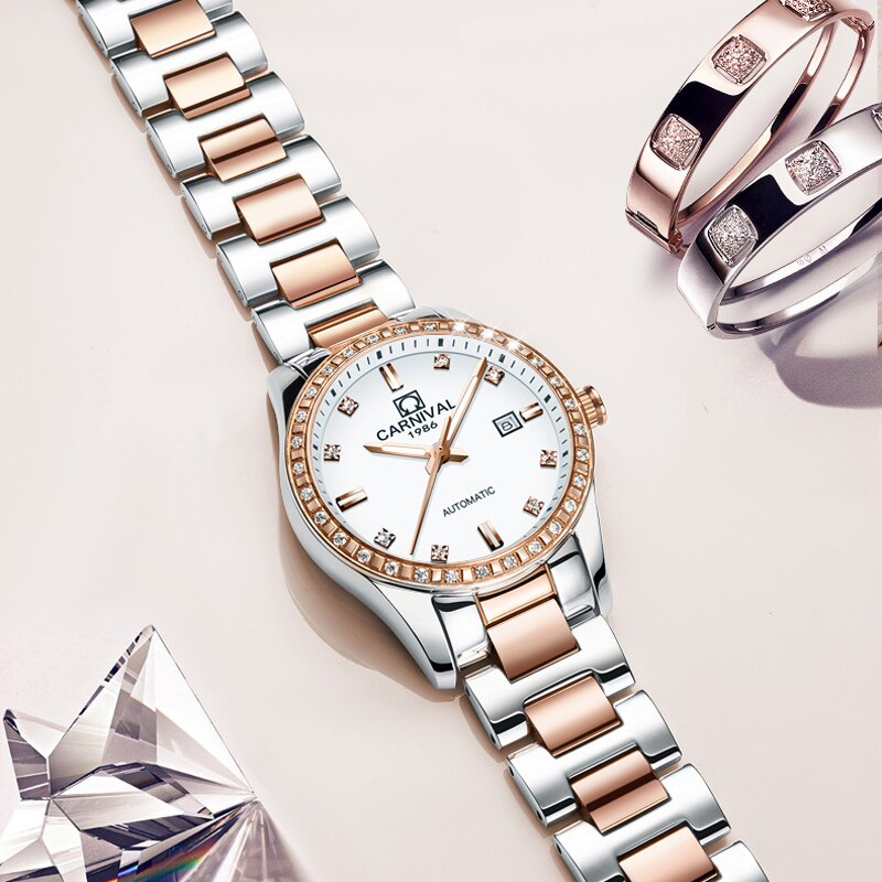 CARNIVAL New Casual Ladies Calendar Luminous Waterproof Stainless Steel Strap Diamond Dial Automatic Mechanical Watches Women enlarge