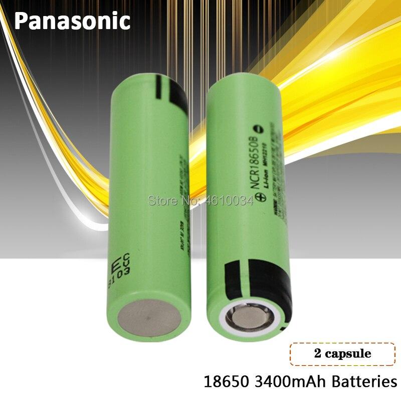 2 piezas Panasonic 100% original 3,7 v 18650 3400mah batería recargable de litio NCR18650B para linternas frenos ordenadores