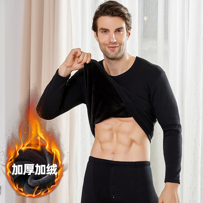 Homens inverno roupa interior térmica topos corpo roupa interior térmica camisa outono thermo vestuário pijamas pijamas casual pullovers