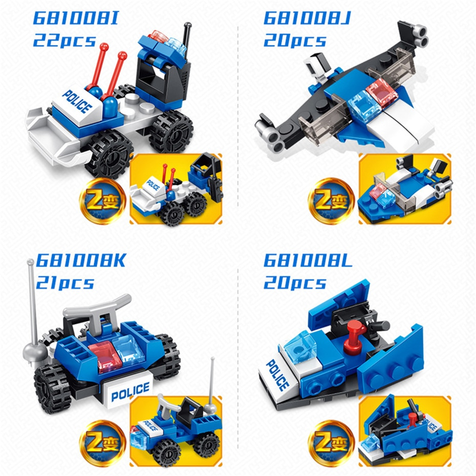 MEOW 12 IN 1 City Police Series Deformation Helicopter Building Blocks Patrol Airplane Bricks Educational Toys Christmas Gifts