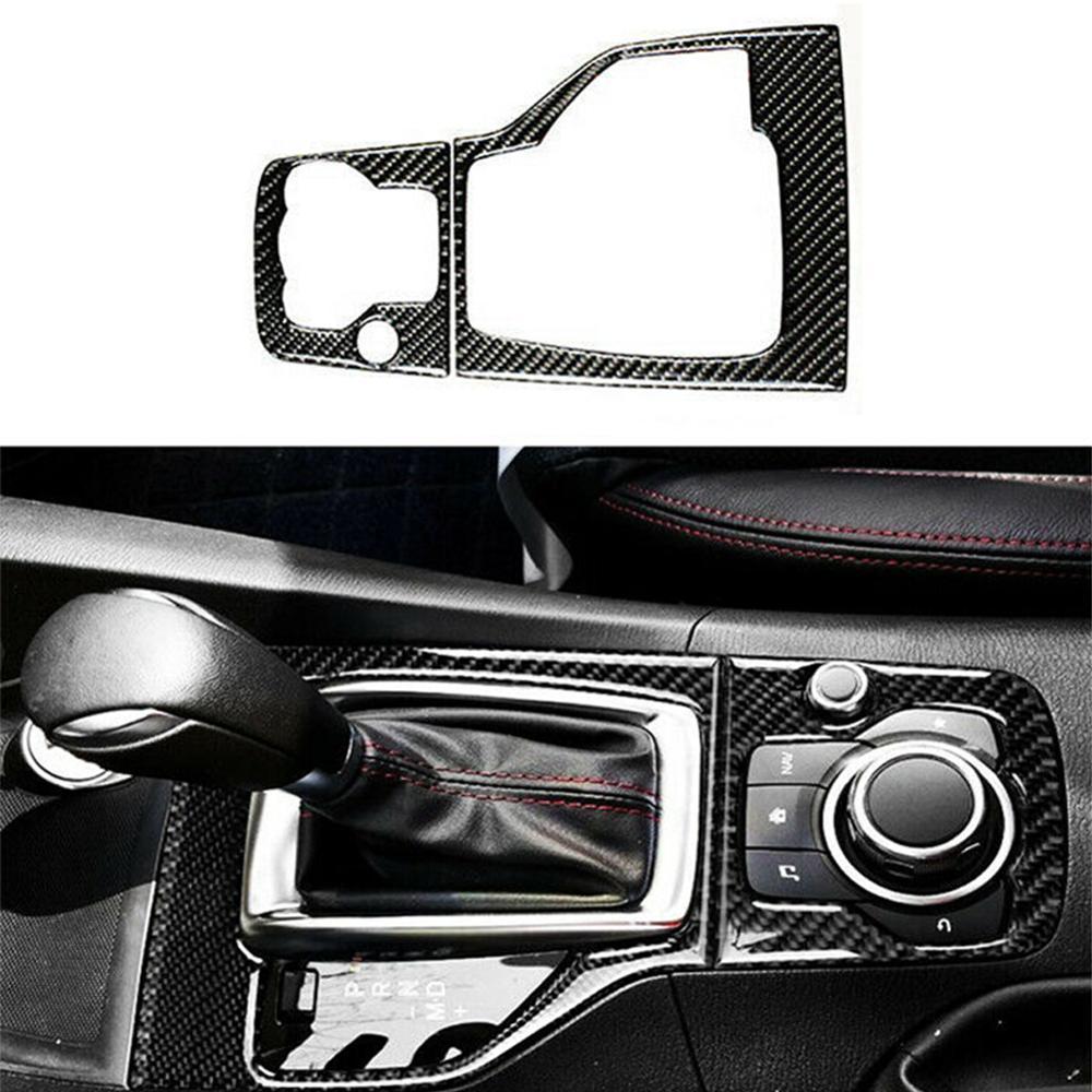 Nadające się do Mazda 3 Axela 2013-2016 z włókna węglowego wewnętrzna Panel zmiany biegów dopasowane obramowanie ramki dla wnętrze auta samochód stylowe naklejki pokrywa