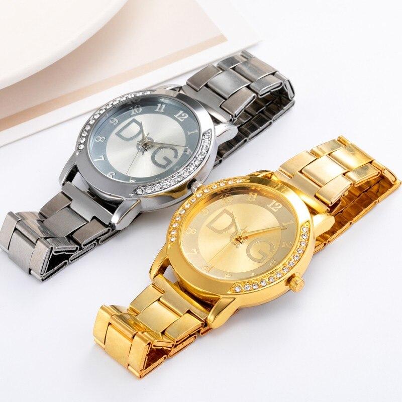 Dg marca 2021 estilo europeu pop senhoras diamante relógio de luxo aço inoxidável quartzo senhoras relógio casual relógio negócios