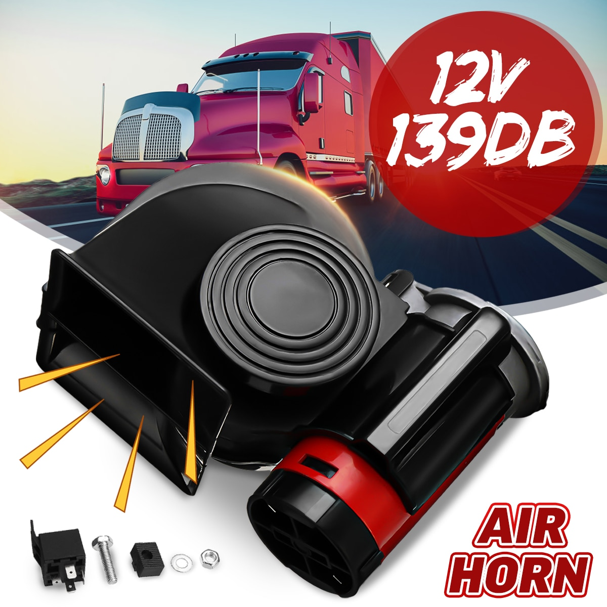 12V 139DB waterproof Loud Electronic Snail Ultra Compact Dual Air Horn Fit for car vehicle motorcycle yacht boat SUV bike buses