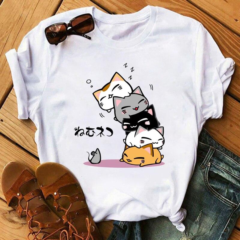 Bonita camiseta de gato, camiseta para mujer divertida de van gogh simons con Gato, ropa de cheshire, camiseta blanca hippie de verano, ropa de calle