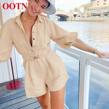 OOTN Casual Purple Playsuits Lantern Sleeve Women Short Jumpsuits Buttons High Waist Bodysuits Ladie