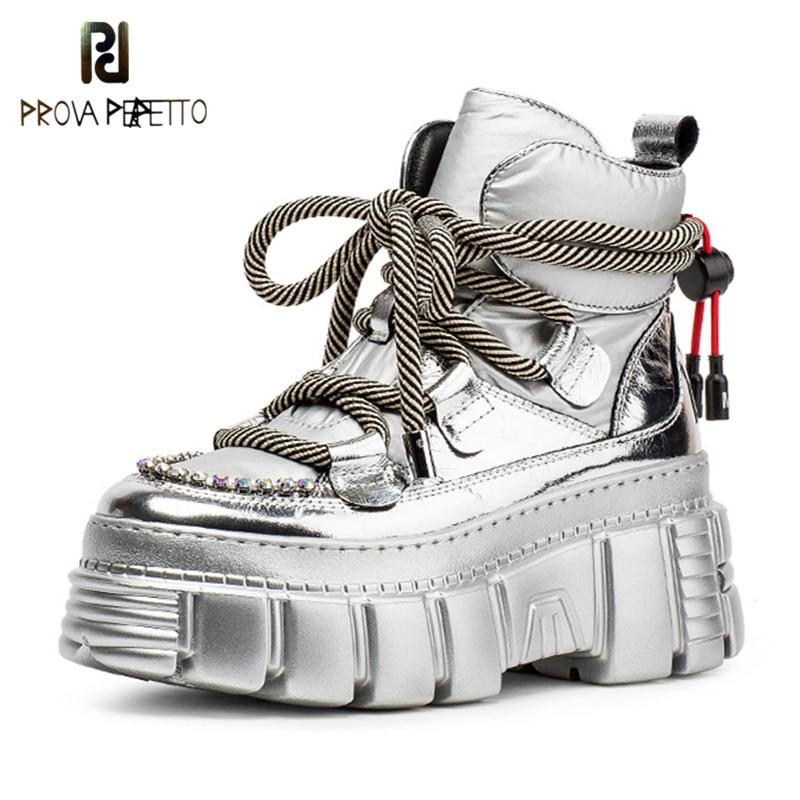 Prova perfetto plush in rhinestone boots feminino couro real bloco salto botas mulher cruz laço-up aumento dentro sapatos stivali