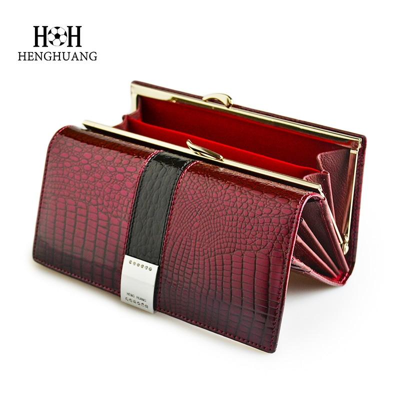 HH-محافظ جلدية أصلية فاخرة للنساء ، حقيبة تمساح براءات الاختراع ، جيب طويل متعدد الوظائف ، حامل بطاقات