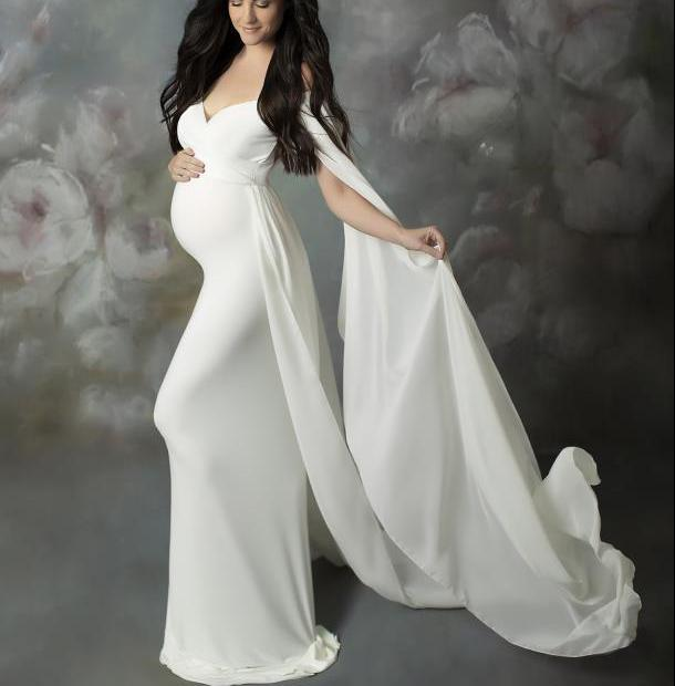Maxivestido de manga corta para embarazadas, vestidos de maternidad para sesión de fotos, vestido de fiesta para embarazadas, ropa de embarazo