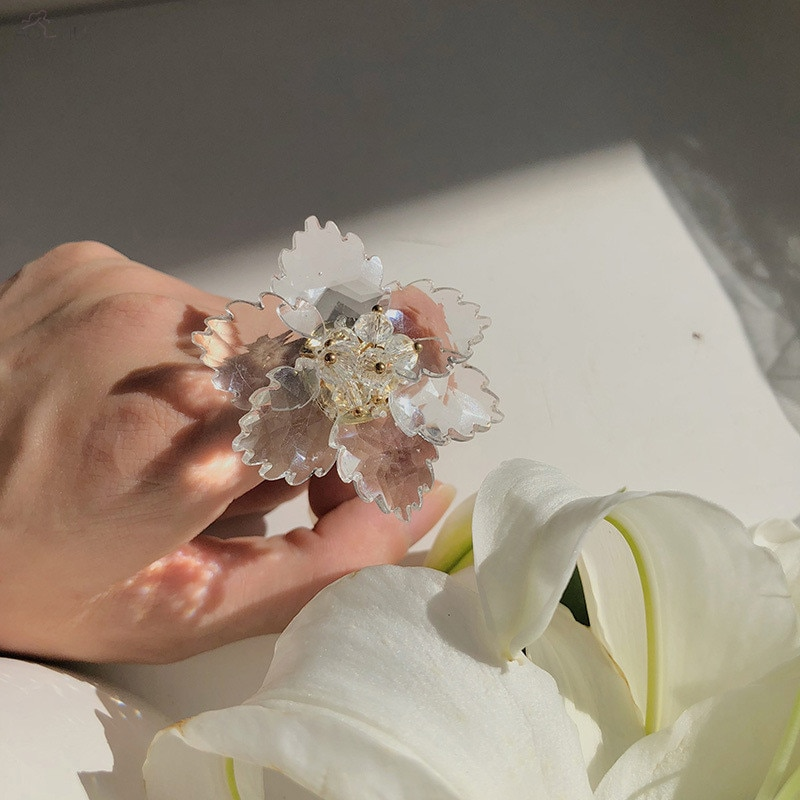 AOMU, anillos grandes de acrílico transparente con bonita exageración para mujer, anillo de diseño de declaración ajustable, joyería de moda, Bisutería