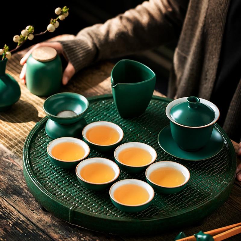 الصينية خمر طقم شاي إبريق شاي من السيراميك فنجان الشاي الإبداعية طقم شاي بسيط غرفة المعيشة لوزا دي بورسيليانا الأدوات المنزلية DI50CT