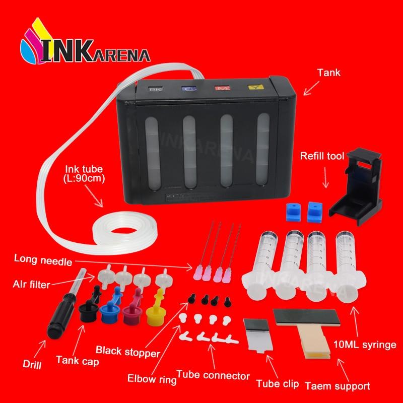 INKARENA sistema de suministro Continuo de Tinta CISS tinta Kits de repuesto para HP 121, 122, 123, 140, 141, 300, 301, 302, 304, 650 impresora ciss tanque