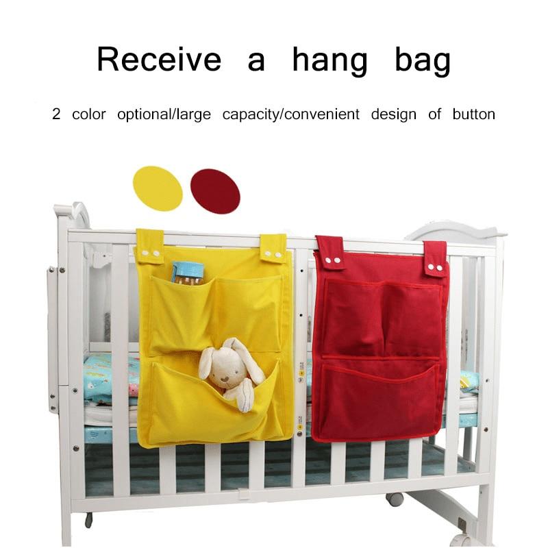 Baby Bed Hanging Storage Canvas Bag Infant Cotton Crib Organizer Toy For Crib Bedding Set Baby Supplies Diaper Pocket Bag