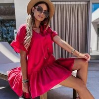 women elegant gowns dress chiffon ruffled cotton hollow out short sleeve loose bandage boho mini beach dress goth for girls