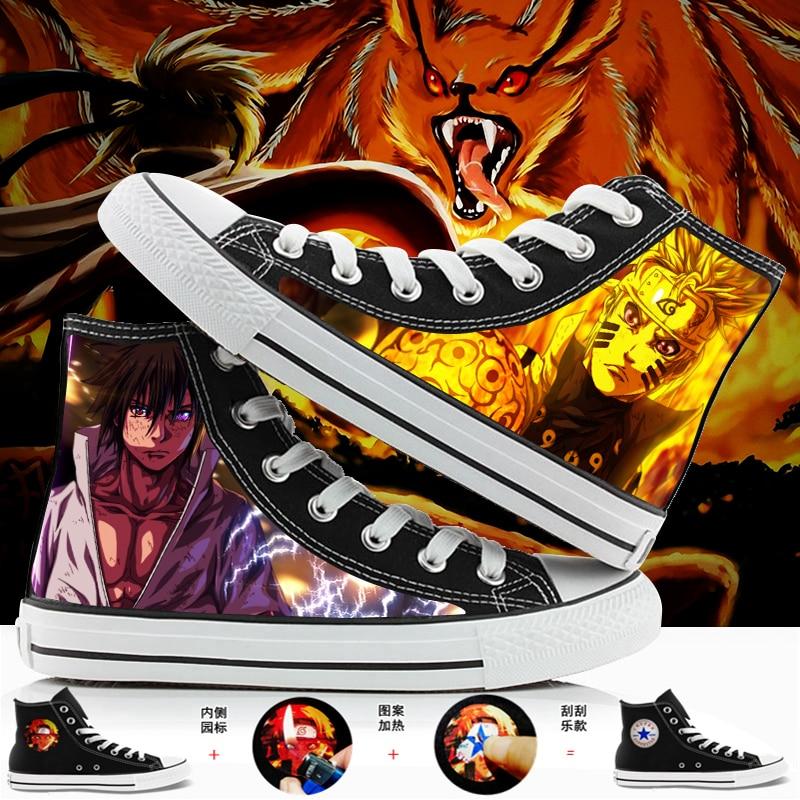WHOHOLL Men Womens Anime Print Canvas Shoes Design Anime Naruto Uchiha Sasuke High Top Canvas Sneakers Casual Shoes Size 39-44