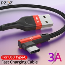 PZOZ-cable USB tipo C de carga rápida, cargador de 90 grados, cable de datos tipo C, para Samsung S10, S9, s8, xiaomi redmi note 9 s 8