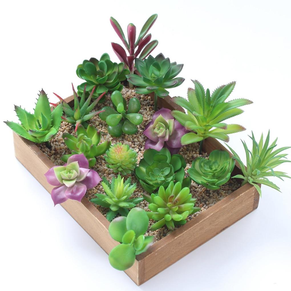 12pcs DIY Home Garden Office Wedding Decoration Mini Bonsai PlanteArtificial Green Purple Red Flocking Succulent Plants