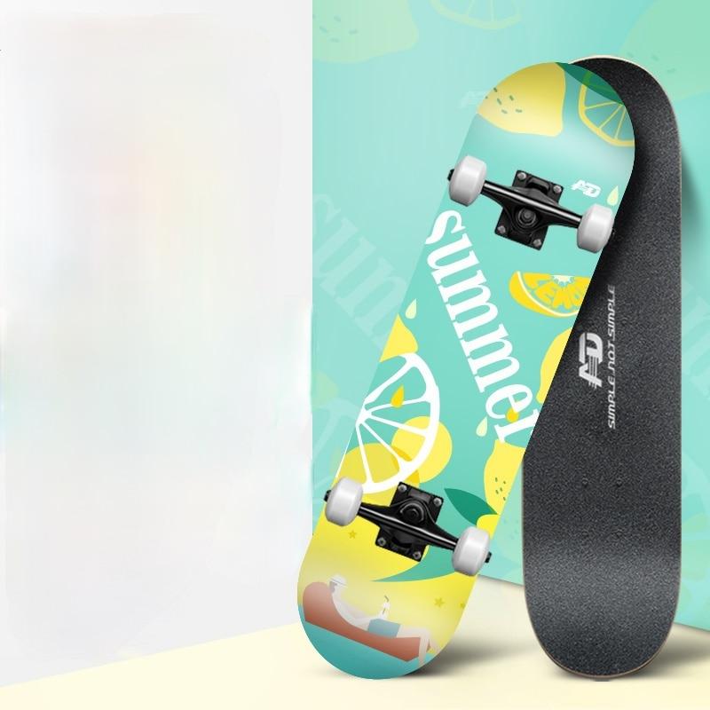 Training Action Longboard Skateboard Wood Complete Beginner Skateboard Street Brushing Shape Maple Kaykay Outdoor Sports BI50SB
