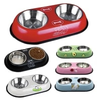 dog cat dish bowl large food pet puppy water feeder stainless steel drinking anti skid for small middle teddy pug high grade