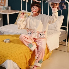 Coral Velvet Pajamas Female Autumn and Winter Pink Cartoon Extra Thick Warm Loungewear Set Cute Flan