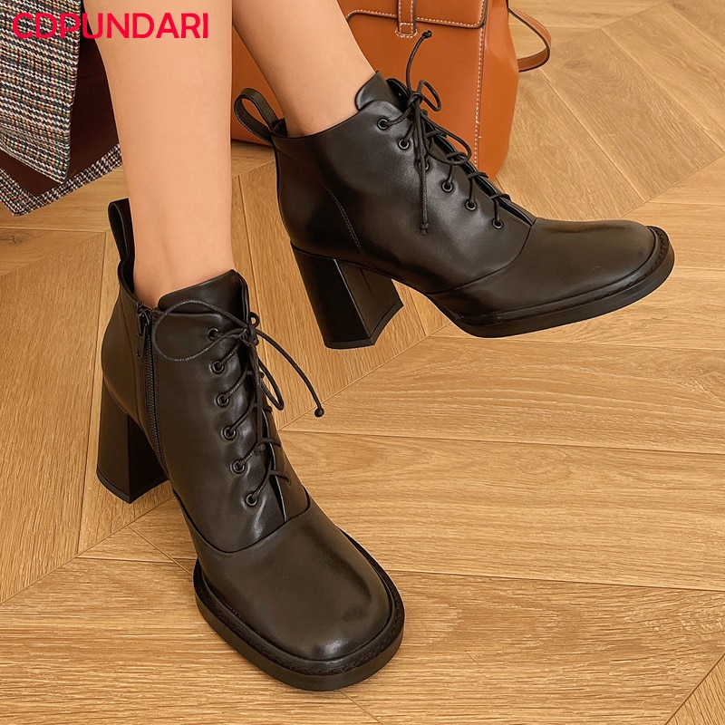 Black White Genuine Leather Ankle Boots For Women Autumn Winter High Heels Short Boots Shoes Bottines Femme Botines Mujer