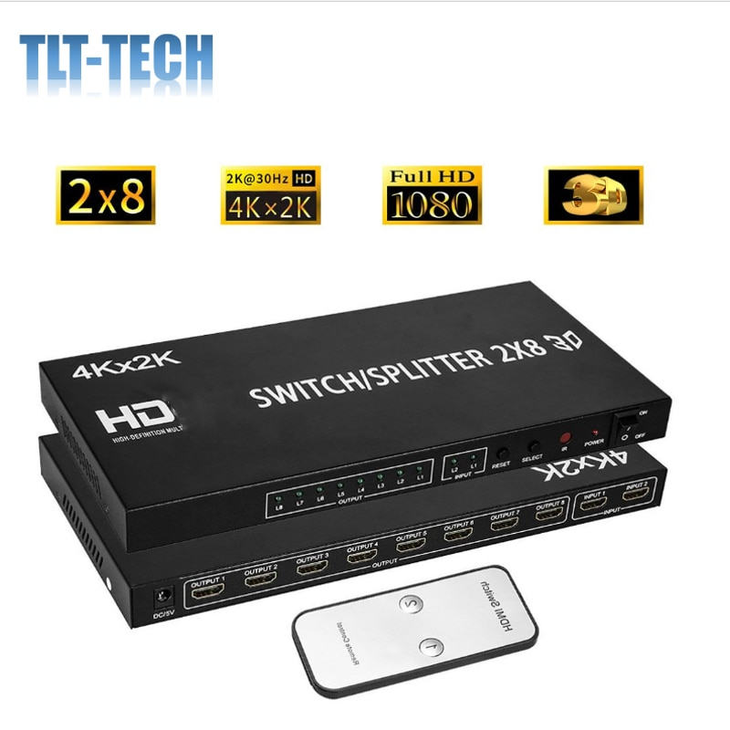 4ch color video digital color quad splitter processor with vga out for cctv security system with bnc switcher splitter HDMI Splitter Full HD 4K Video HDMI Switcher 2x8 Split 2 in 8 Out Dual Display for DVD PS3 Xbox With Power