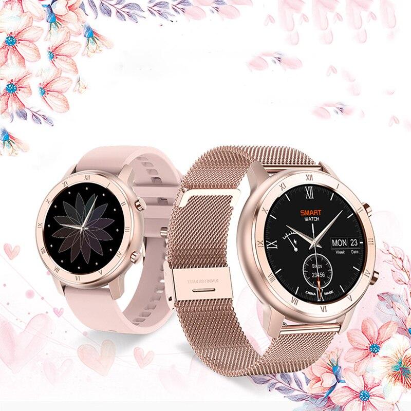 شاومي ساعة النساء سوار مقاوم للماء رصد معدل ضربات القلب الإناث إدارة الحيض النوم رصد الرياضة Smartwatch للهدايا