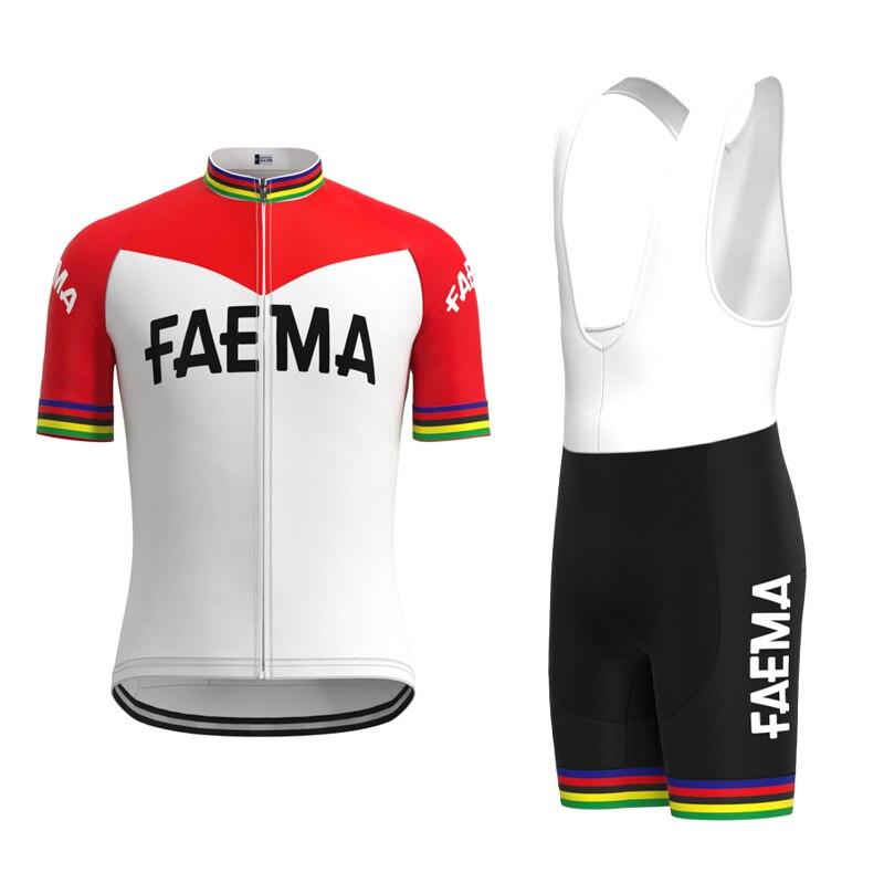 1969 Competition FAEMA Team Retro Man Cycling Jersey Short Sleeve Set Triathlon Mtb Biker Jersey Suit maillot ciclismo hombre