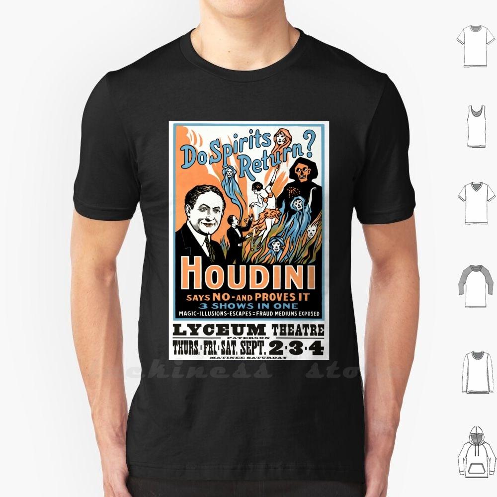 Harry Houdini, ¿los espíritus vuelven? Camiseta de algodón hombres mujeres adolescentes Harry Houdini Vintage antiguo magia mago