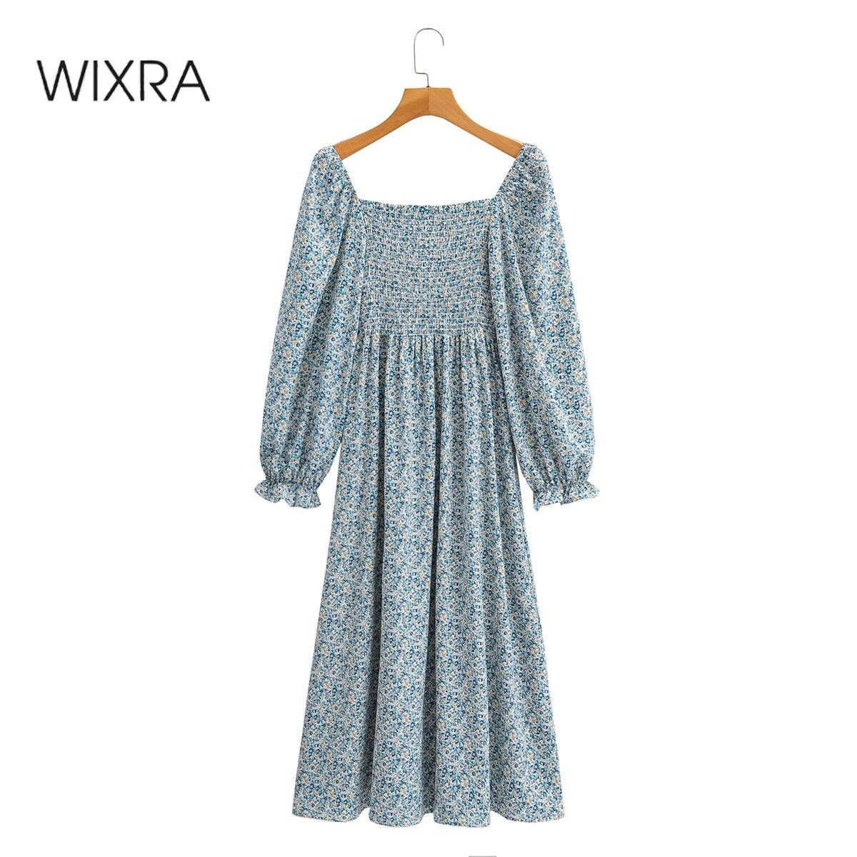 Wixra المرأة فستان طويل الصيف أنيقة ساحة طوق الأزهار طباعة مرونة الخصر كم كامل ألف خط الإناث الملابس