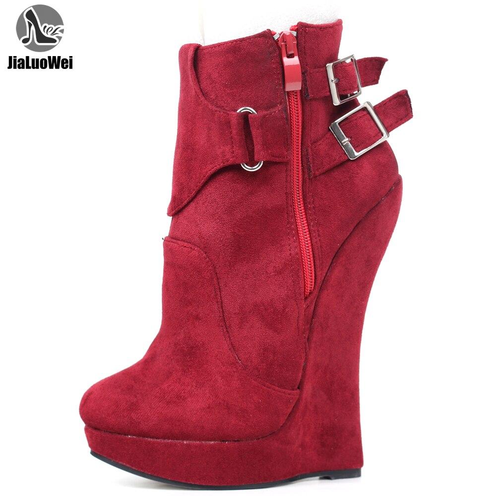 Jialuowei أحذية عالية الكعب النساء 7 بوصة المتطرفة عالية الكعب منصة مثير الوثن إسفين كعب مشبك الأشرطة حذاء من الجلد حجم 36-46