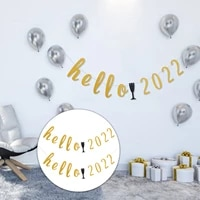 2pcs new year style hanging banners paper banners party decorations golden