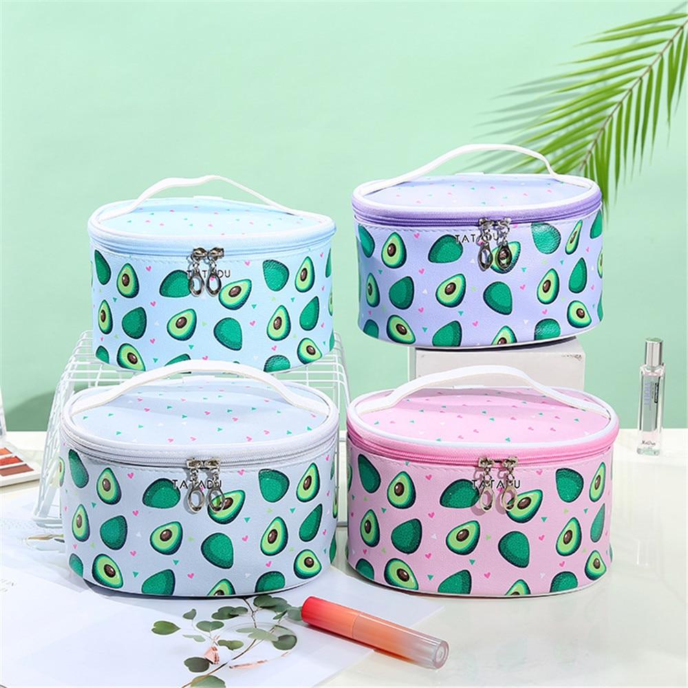 Women's Cosmetic Makeup Bag Brush Holder Storage Boxes Avocado Make Up Bag Cosmetics Kosmetyczka Professional Organizers Bags